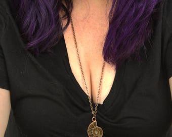 Fossil Necklace, Copper Ammolite Fossil Pendant, Ammonite Necklace, Copper Jewelry Handmade, Electroformed Necklace, Electroplated Jewelry