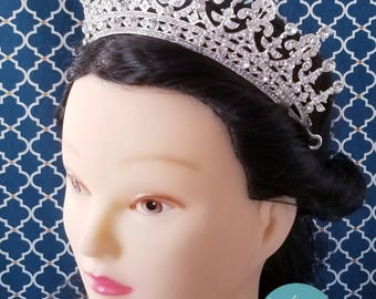 Fast Ship - Silver Tiara - Silver High Tiara - Silver & Rhinestone Tiara - Princess Queen Mary Crown - Silver Wedding Tiara -  Wedding Crown