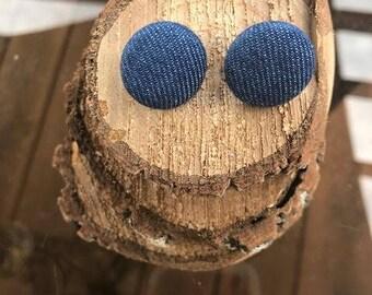 Fabric Button Earrings - Denim
