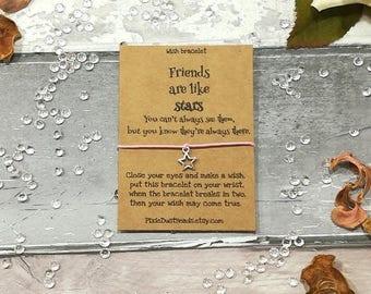 Friend are like stars Bracelet, Best Friends Gift, Friends Wish Bracelet, Charm Bracelet, Friend Gift, Friendship Card, Friendship Bracelet