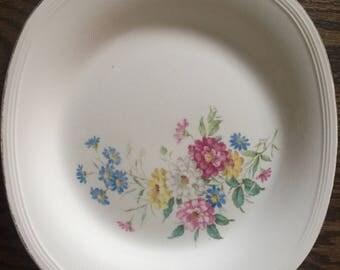 Vintage Edwin M Knowles Platter Floral