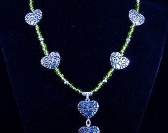 Silver Hearts with Green