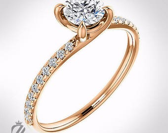 14K Rose Gold Diamond Engagement Ring Wedding Ring Bridal Ring