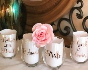 Rose gold bridal party wine glasses/bridesmaid wine glasses/bride wine glasses/bridal party gifts/wine glasses/bridesmaid gifts/bride gifts