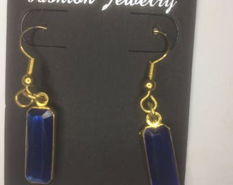 Vintage Blue Rectangle Gem Earrings