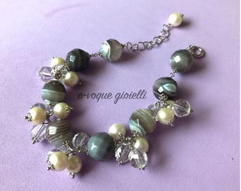 Charms bracelet with Pearl and agate