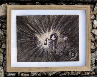 Light in the Darkness: PRINTABLE artwork, Storybook Illustration, Children's Art, Ballpoint Drawing, Dark art, Grunge Decor, Rustic Style