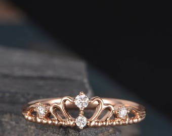 Queen Wedding Band Rose Gold Crown Ring Diamond Eternity Band Delicate Tiara Bridal Anniversary Gift Women Princess Promise Ring Dainty 14k