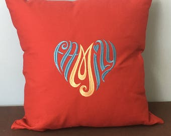Family Embroidered Pillow