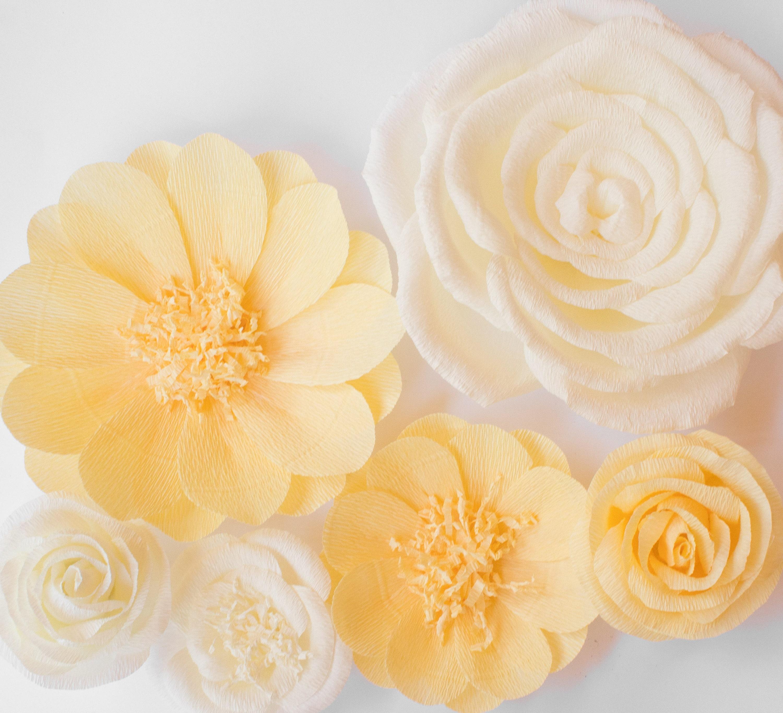6 Crepe Paper Flowers, Baby Nursery Wall, Paper Flower Backdrop ...