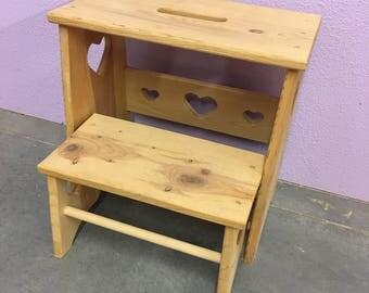 storage step stool etsy. Black Bedroom Furniture Sets. Home Design Ideas