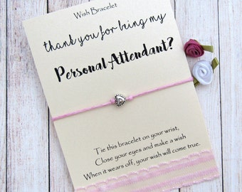 Personal Attendant Thank You Gift, Honor Attendant Gift, Wedding Wish Bracelet, Be my Bridesmaid, Bridesmaid Gift, Wedding Attendant Gifts.