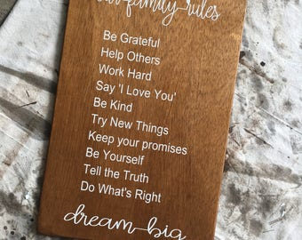 Our Family Rules Sign