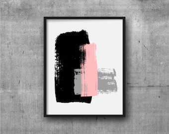 Black Pink & Gray Art, Abstract Art, Contemporary Art, Art Print, Abstract painting, Contemporary Painting, Minimal, Minimalist