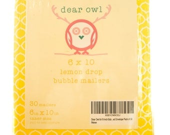 Dear Owl 6x10-Inch Color Bubble Mailer Lemon Drop Yellow Pack of 30