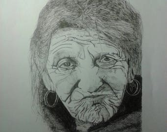 Painting / Draw - Old woman