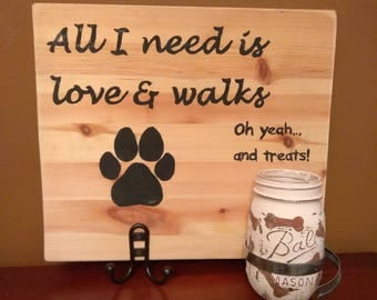 Hand Painted Personalized Dog Treat and Leash Sign