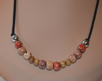Boho wood printed beads  style necklace