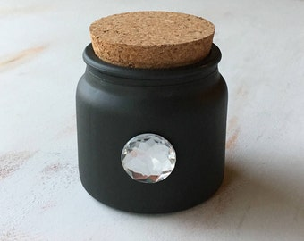 Shabby Chic Charcoal Black Chalked Painted Scented Candle with Cork Lid and Bling Jewelry