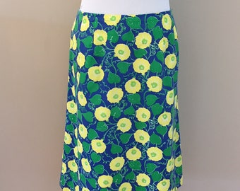 Late 1960's-Early 70's Vintage Lilly Pulitzer Floral Skirt/Royal,Lemon Yellow,Kelly Green