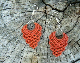 Macrame earrings.Handmade earrings.Gift for women.Boho jewelry.Red earrings.Hippie jewelry.Ethnic earrings.Gift for her.Boho earrings.