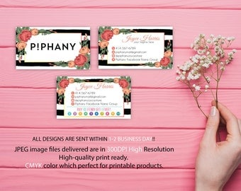 Piphany Business Card, Custom P!phany Business Card, Personalized Consultant Piphany Marketing Kit, Water color card, Printable Card TP03
