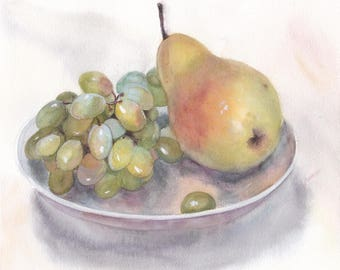 Original watercolor still life with pear and bunch of green grape on a plate / Realistic fruit art / Wall hanging / Food art / Home decor