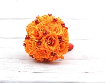 Orange-Red satin wedding bouquet roses, wedding bouquet, flower bouquet, bouquet, satin roses, original, extravagant, autumn