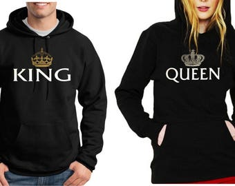 Valentine's Day King And Queen Couple Hoodie by CCustomsDesign
