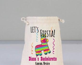 Bachelorette Party Bag, Drawstring Mini Favor Bags,  Wedding Party Favor, Mexican Pinata  Party Favors, Fiesta Party Favors