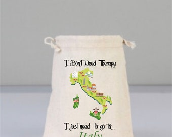 Italy Gift, Italy Map,Italy Travel Bag, I Love Italy, Drawstring Bag, City Bag, Travel Bags,Cotton Bags, Travel Gifts, Italy Theme Bag