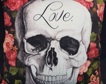 Love Skull Cushion Cover - Love Pillow Love cushion Floral cushion Love decor Rose decor Skull decor rose gift flower gift