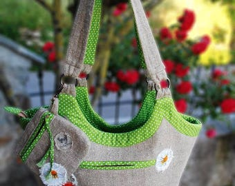 Bag in raw linen, Country style/Shabby-Poppy Line