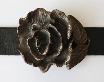 Vintage Brass Flower Belt Buckle Old Brass Buckle Floral Belt Buckle