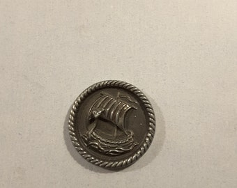 Vintage 1950's alloy button of Viking ship.