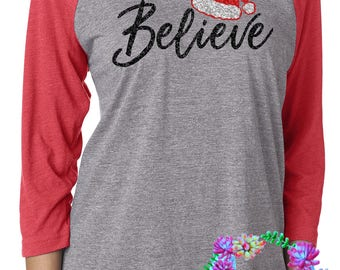 Believe christmas shirt -toddler - youth - adult- FREE shipping - christmas shirt - christmas gift - christmas - glitter -Believe