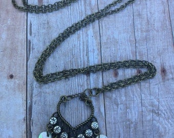 Bronze Mother of pearl necklace with diamond accents