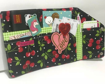 Cherry cherries and plaid clutch personal organizer planner, passport holder cover,  travelers notebook