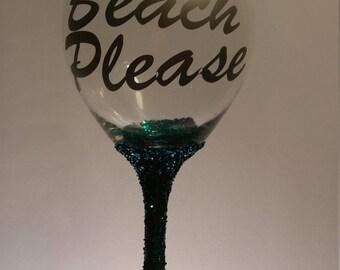 Beach Please Red Wine Glass
