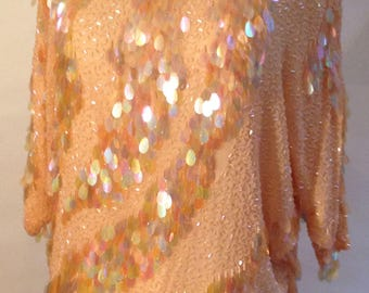 Swanky peach silk sequined top