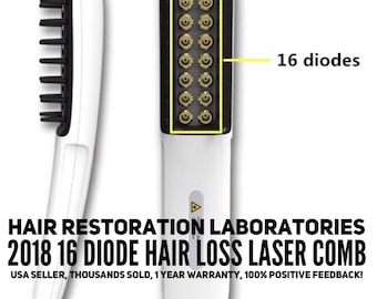 Hair Restoration Laboratories 16 Diode Hair Loss Laser Comb to treat and reverse hair loss; hair thinning and related conditions; for men &