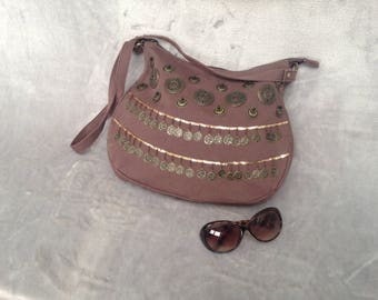 Hippy 1970s style brown canvas bag with bronze medallions and gold sequins