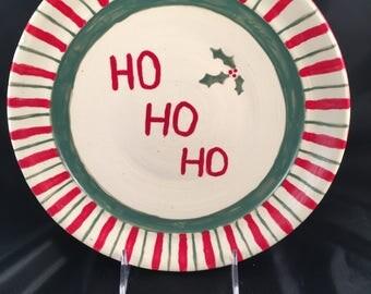 Handmade Christmas Plate, Ho Ho Ho Christmas Platter, Santa Cookie Plate, Ceramic Christmas Plate, Ceramic Holiday Plate