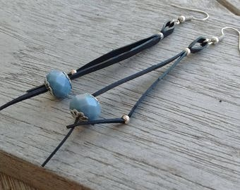 Dangle earrings - tiny glass beads on links of recycled bicycle inner - grey pearls - long earrings - lightweight earrings