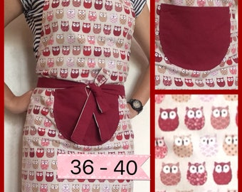 Burgundy reversible apron with OWL pattern