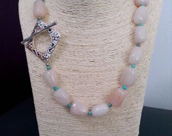 Turquoise, aventurine, natural stones, gemstones, pink, silver necklace, Pearl necklace, women gift, elegant, modern, chic