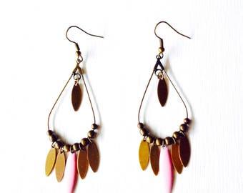 Earrings creole bronze - pink and bronze sequins