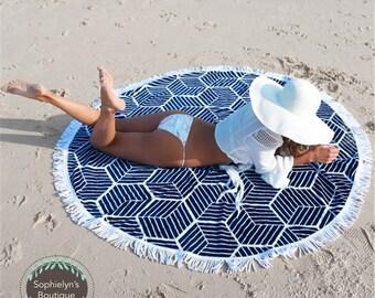 Blue White - Round Beach Throw/Towel