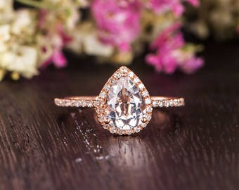 Pear Shaped White Topaz Engagement Ring Rose Gold Half Eternity Diamond Antique Anniversary Women Promise Engraving Diamond Halo Birthstone