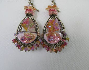 "Drop earrings ""Frivolous"" shape connectors with enameled copper charms"